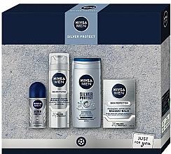 Parfums et Produits cosmétiques Nivea Men Silver Protect 2020 - Set (baume/100ml + mousse à raser/200ml + gel douche/250ml + déodorant/50ml)