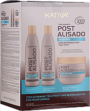 Parfums et Produits cosmétiques Kativa Straightening Post Treatment Keratin - Set (shampooing/250ml + après-shampooing/250ml + traitement/250ml)
