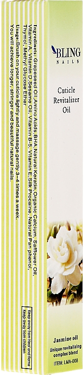 Huile pour cuticules, Jasmin - Bling Nails Cuticle Revitalizer Oil Jasmine Oil