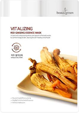 Masque tissu à l'extrait de ginseng pour visage - Beauugreen Vitalizing Red Ginseng Essence
