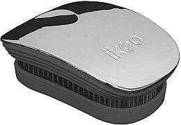 Parfums et Produits cosmétiques Brosse à cheveux compacte, noire métallique - Ikoo Pocket Oyster Metallic Black