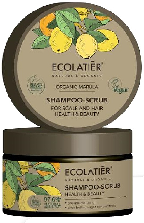 Shampooing-gommage à l'huile de marula pour cheveux et cuir chevelu - Ecolatier Organic Marula Shampoo-Scrub
