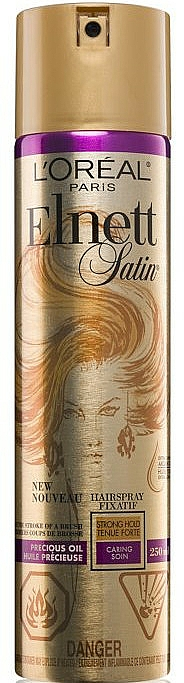 Laque fixation forte à l'huile d'argan pour cheveux - L'Oreal Paris Elnett Precious Oil Hair Spray