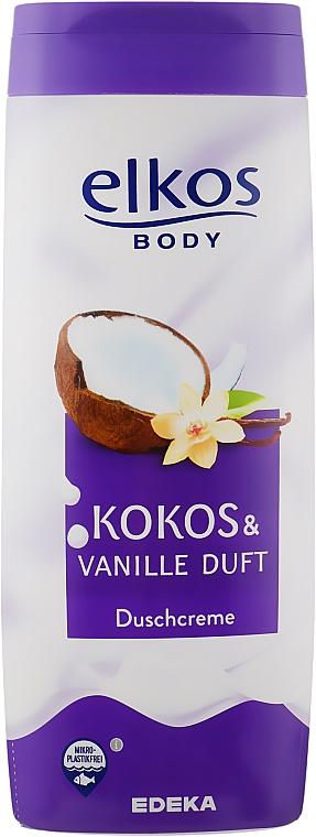 Crème de douche à l'extrait de vanille, Coco et Vanille - Elkos Coconut & Vanilla Shower Gel