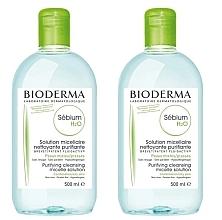 Parfums et Produits cosmétiques Bioderma Sebium H2O Micellaire Solution - Set (solution micellaire nettoyante/2x500ml)