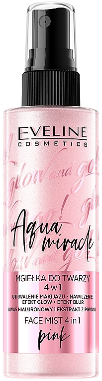 Brume fixateur de maquillage - Eveline Glow And Go! Aqua Miracle Face Mist 4in1 Pink