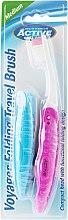 Parfums et Produits cosmétiques Brosse à dents de voyage medium, rose - Beauty Formulas Voyager Active Folding Dustproof Travel Toothbrush Medium