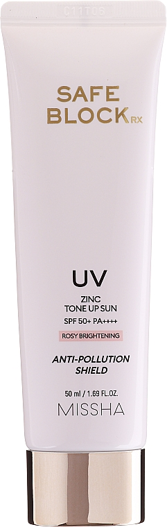 Crème solaire anti-pollution au zinc pour visage - Missha Safe Block RX Zinc Tone Up Sun SPF50+ — Photo N1