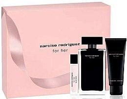 Parfums et Produits cosmétiques Narciso Rodriguez For Her - Coffret (eau de toilette/100ml + eau de toilette/mini/10ml + lait corps /75ml)