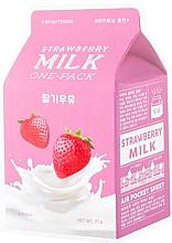 Parfums et Produits cosmétiques Masque éclaircissant pour visage, Lait fraise - A'Pieu Milk One-Pack Brightening Strawberry