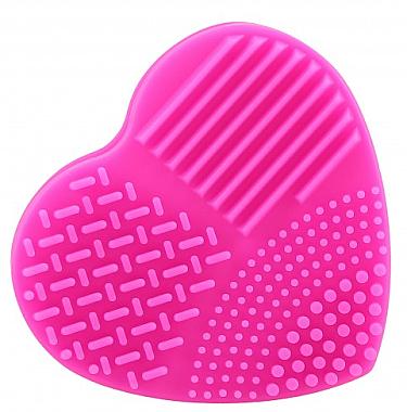 Brosse nettoyante cœur en silicone pour pinceaux maquillage, fuchsia - Ilu Brush Cleaner Hot Pink