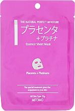 Parfums et Produits cosmétiques Masque tissu pour visage - Mitomo Essence Sheet Mask Placenta + Platinum