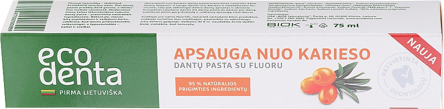 Dentifrice à l'huile d'argousier - Ecodenta Cavity Protection Toothpaste