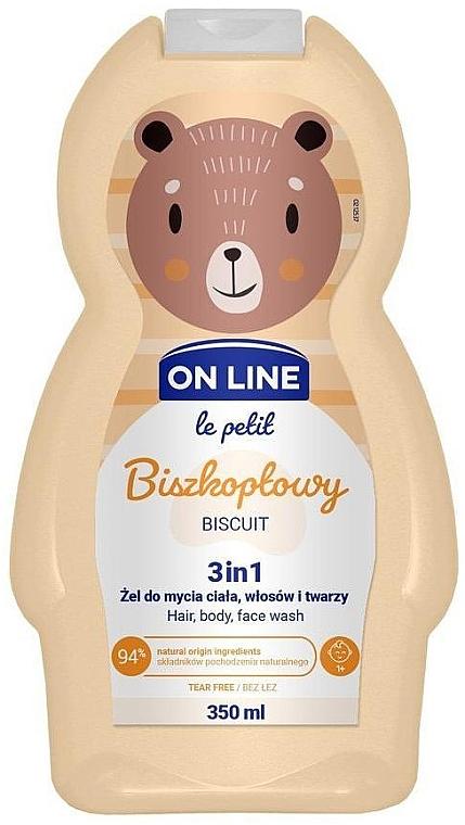 Gel nettoyant pour visage, corps et cheveux Biscuit - On Line Le Petit Biscuit 3 In 1 Hair Body Face Wash
