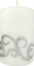 Parfums et Produits cosmétiques Bougie décorative, blanc avec ornements, 7x10 cm - Artman Christmas Ornament