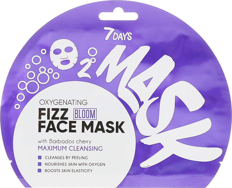 Masque tissu à bulles d'oxygène pour visage, Cerise de la Barbade - 7 Days Bloom Maximum Cleansing Sheet Mask