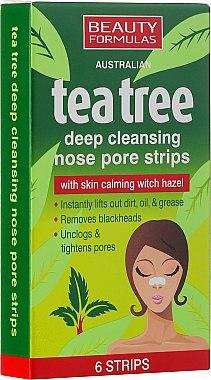 Patchs purifiants au thé vert pour le nez - Beauty Formulas Tea Tree Deep Cleansing Nose Pore Strips