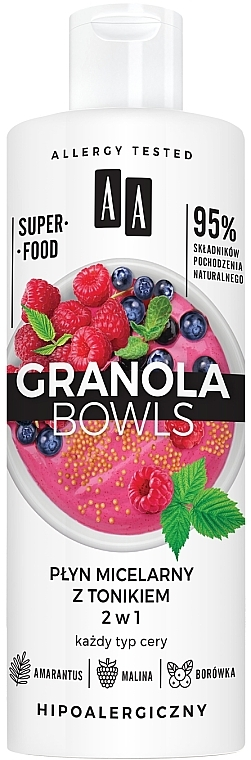 Eau micellaire et tonique à la framboise et myrtille pour visage - AA Granola Bowls Micellar Water And Tonic 2 in 1