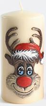 Parfums et Produits cosmétiques Bougie décorative Rudolphe, crème, 7x14cm - Artman Christmas Candle Rudolf