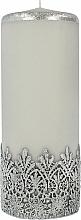 Parfums et Produits cosmétiques Bougie décorative en dentelle, gris, 9x24 cm - Artman Lace Christmas