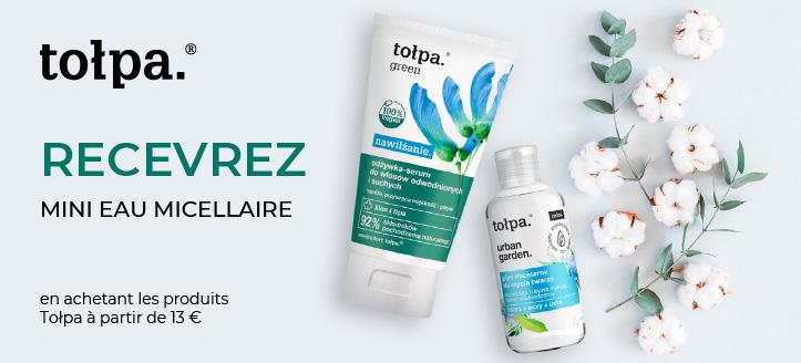 Recevrez en cadeau une mini eau micellaire, lors de l'achat de produits Tołpa d'un montant de 13 €