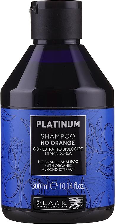 Shampooing neutralisant les tons oranges et cuivrés à l'extrait d'amande bio - Black Professional Line Platinum No Orange Shampoo With Organic Almond Extract
