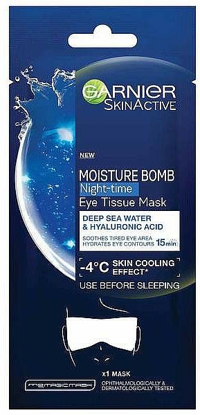 Masque tissu de nuit à l'acide hyaluronique pour le contour des yeux et les paupières - Garnier Moisture Bomb Deep Sea Water and Hyaluronic Acid Mask