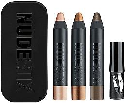 Parfums et Produits cosmétiques Set (fards à paupières en crayon/3x2.5g + taille-crayon + boîte) - Nudestix Mini Nude Metallic Eye