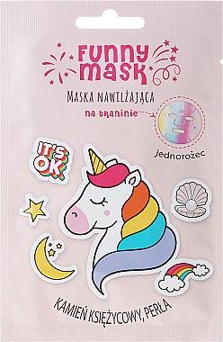 Masque tissu hydratant avec pierre de lune et perle pour visage, Licorne - Marion Funny Mask