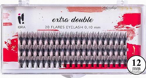 Faux-cils individuels, C 0,1mm, 12mm - Ibra Extra Double 20 Flares Eyelash C 12 mm