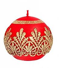 Parfums et Produits cosmétiques Bougie décorative, boule, rouge, 10 cm - Artman Koronka Lace Christmas