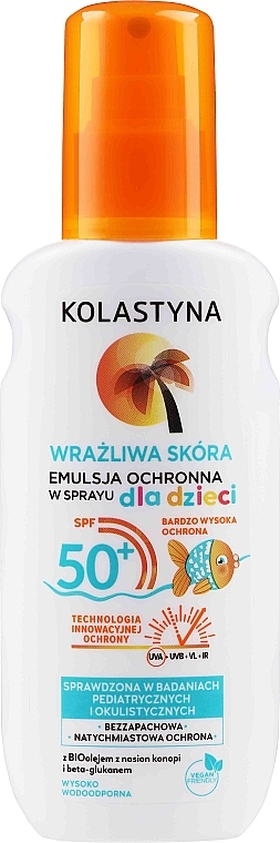 Émulsion-spray solaire waterproof pour corps - Kolastyna Kids Sensitive Skin SPF50