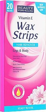 Bandes de cire à la vitamine E pour pieds et corps - Beauty Formulas Wax Strips Hair Remover Legs & Body
