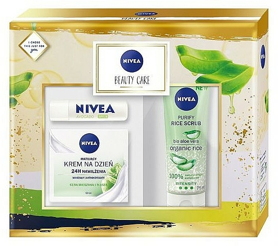 Nivea Beauty Care - Set soin visage(crème/50ml + gommage/75ml + baume à lèvres/4.8g)