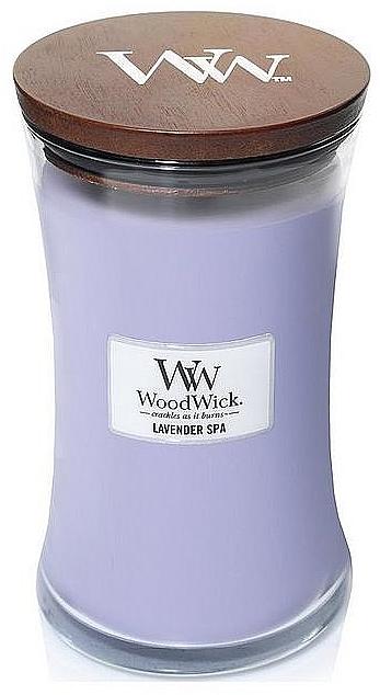 Bougie parfumée en jarre avec mèche en bois, Lavande relaxante - WoodWick Hourglass Candle Lavender Spa — Photo N2