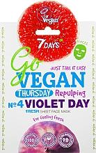 Parfums et Produits cosmétiques Masque tissu à l'extrait de myrtille pour visage - 7 Days Go Vegan Thursday Violet Day