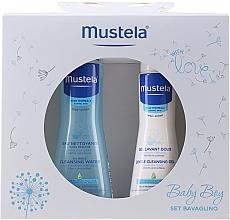 Parfums et Produits cosmétiques Mustela Baby Boy Bavaglino Set Blue - Set (gel lavant/200ml + eau nettoyante/300ml + bavoir)