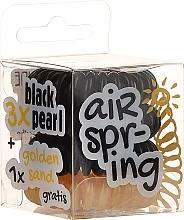 Parfums et Produits cosmétiques Élastiques à cheveux, noir + beige, 4 pcs - Hair Springs