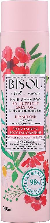 Shampooing au miel de manuka et noix du Brésil - Bisou Hair Shampoo 3D-Nutrien & Restore