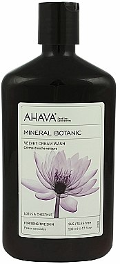Crème de douche au lotus et chataigne pour peaux sensibles - Ahava Mineral Botanic Velvet Cream Wash Lotus Flower & Chestnut — Photo N1