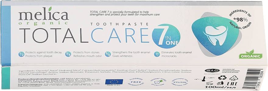 Dentifrice bio - Melica Organic Toothpaste Total Care 7