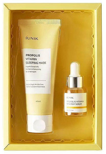 Coffret cadeau - iUNIK Propolis Edition Skin Care Set (mask/60ml + ser/15ml)