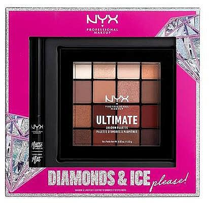 Coffret cadeau (palette/16x1.18g + eyeliner/2ml) - NYX Professional Makeup Diamonds & Ice Please Shadow & Liner Set