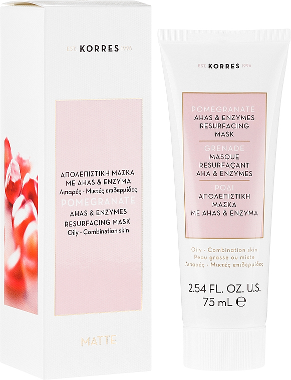 Masque aux acides AHA et enzymes pour visage - Korres Pomegranate Ahas & Enzymes Resurfacing Mask