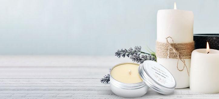 -20% de remise sur les bougies de massage naturelles Almond Cosmetics. Les prix sur le site sont indiqués avec des réductions