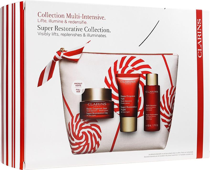 Coffret cadeau - Clarins Super Restorative Christmas Set (cr/50ml + cr/15ml + essence/50ml + bag) — Photo N1