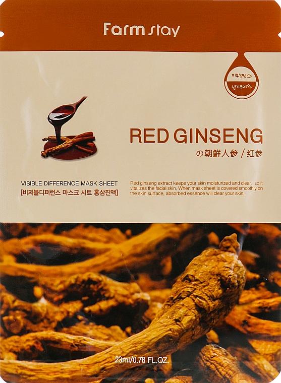 Masque tissu à l'extrait de ginseng rouge pour visage - Farmstay Visible Difference Mask Sheet