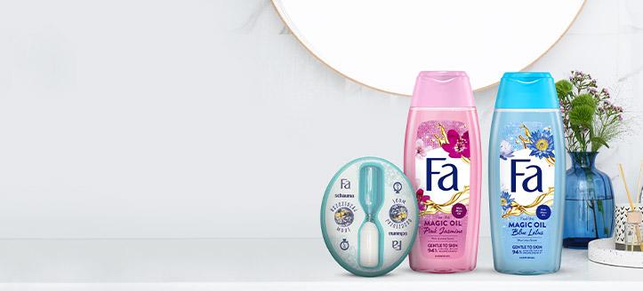 À l'achat de produits Fa à partir de 5 €, vous recevrez un sablier pour la douche en cadeau