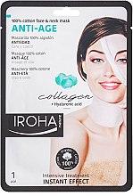 Parfums et Produits cosmétiques Masque tissu au collagène et acide hyaluronique pour visage et cou - Iroha Nature Anti-Age Collagen 100% Cotton Face & Neck Mask