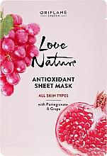 Parfums et Produits cosmétiques Masque tissu antioxydant à la grenade et au raisin pour visage - Oriflame Love Nature